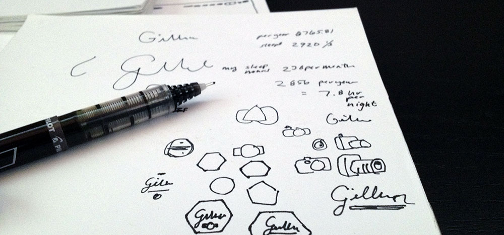stock image of doodles on a piece of paper and a pen