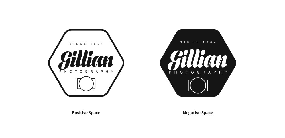 Two Gillian Photography logos with text positive space negative space